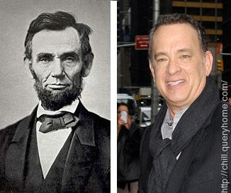 How is Tom Hanks related to Abraham Lincoln