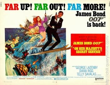 George Lazenby play James Bond in film On Her Majesty's Secret Service (1969).
