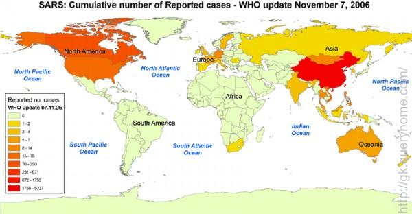 SARS outbreak world map