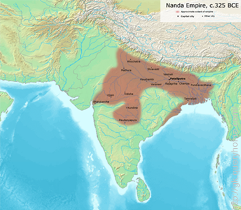 Nanda dynasty was ruling over North India at the time of Alexander's invasion.