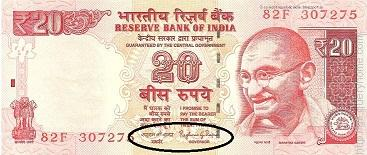 Governor, Reserve Bank of India signs on the Indian currency notes in denomination of two rupees and above.