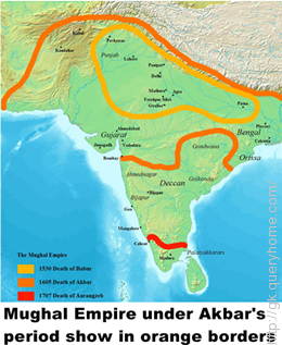 Akbar reigned the power of Mughal Empire from 1556 to 1605.