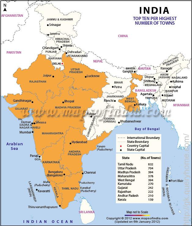 The Map Showing Top 10 States with Highest Number of Towns in India