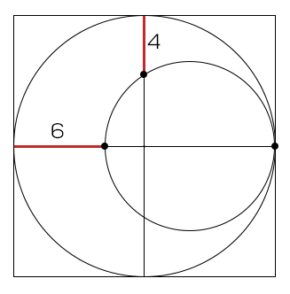 What is the area of the large square?