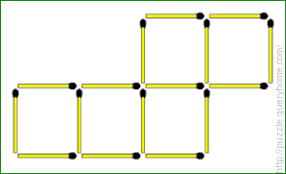 Move two matchsticks to form four equal sized squares