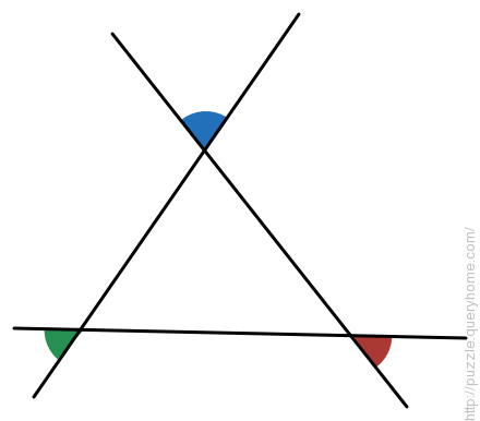 If the red angle is 10 and the blue one is 30, what is the measure of green angle