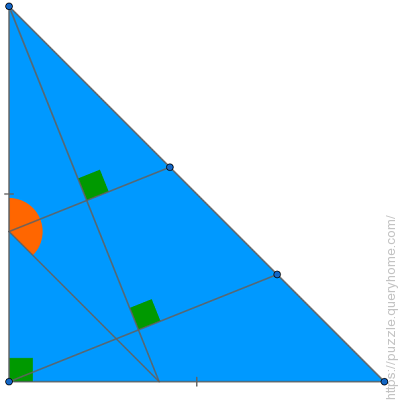 What is the measurement of the orange angle in degrees in the following right angle triangle