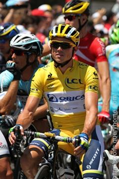 The leader in the Tour de France cycle race wears the Yellow Jersey