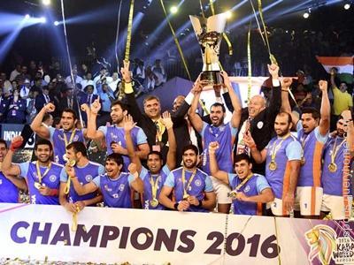 Total 7 kabaddi world cup won by India till 2016.