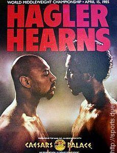 Marvin Hagler and challenger Thomas Hearns