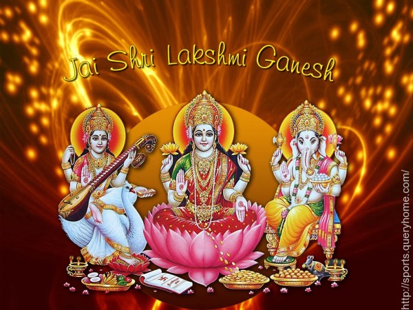 Worshipping goddess Laxmi and lord Ganesh on Diwali