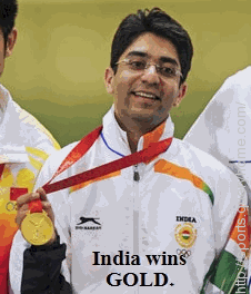 first Indian to win an individual gold medal at the Olympic Games