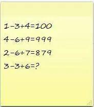 If 1-3+4=100, 4-6+9=999, 2-6+7=879 then 3-3+6=??