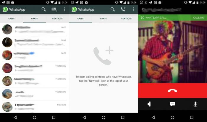 Whatsapp Voice call screens