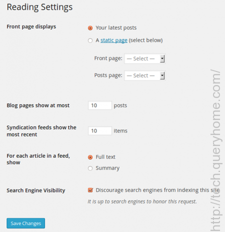 Syndication feeds show the most recent features of WordPress Reading Settings is to determine how the information from your site is sent to a reader's web browser or other applications.