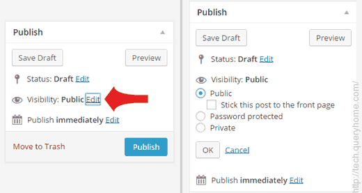When you writing posts, there is an option called Visibility, which is set to Public by default. If you click Edit, then you will see options such as Password Protected and Private.