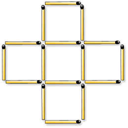 Move 3 matches to make 6 identically sized squares